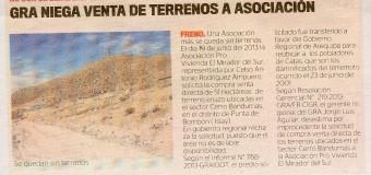 DECLARAN IMPROCEDENTE VENTA DE TERRENOS EN ALTO LA PUNTA