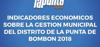 INDICADORES ECONOMICOS SOBRE LA GESTION MUNICIPAL DEL DISTRITO DE LA PUNTA DE BOMBON 2018